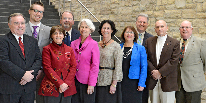 From left, Geoff Astles, Joshuah Barry, M. Joan Geise, Donald Cass, Barbara Hamlin, Karen Davison Blazey, Donna Mihalik, Stephen Martin, John Hicks and James DeVaney.