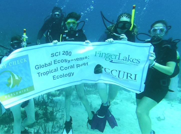 FLCC students exploring tropical coral reef